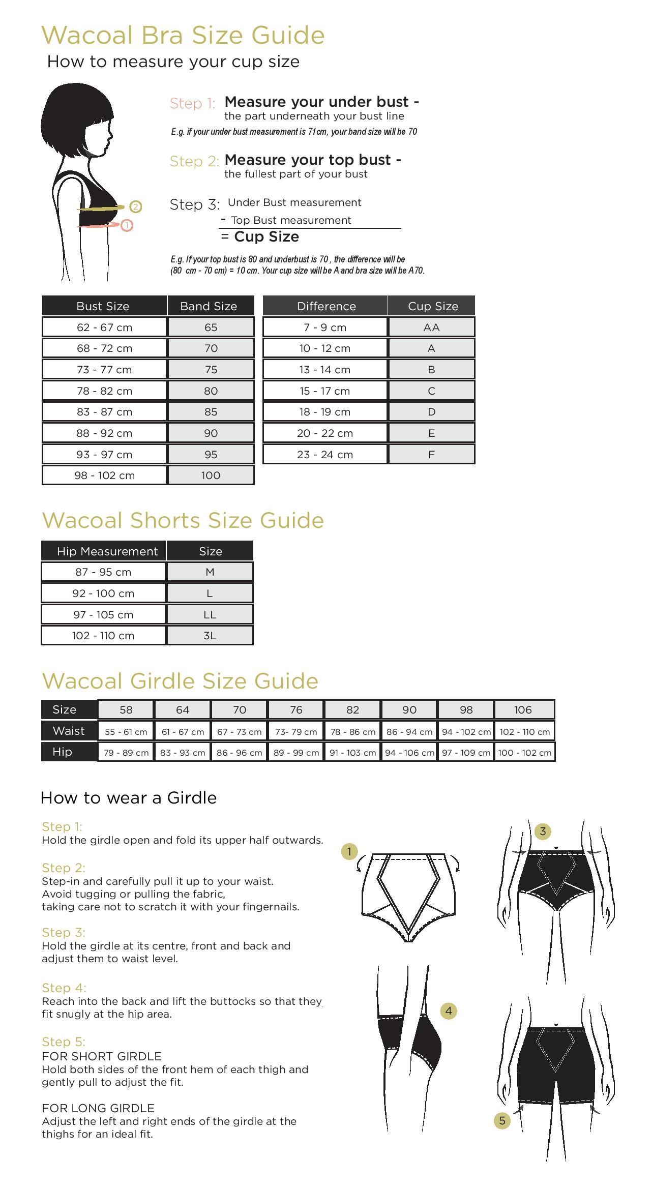 Size Guide Wacoal Singapore